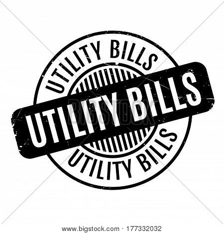 Utility Bills rubber stamp. Grunge design with dust scratches. Effects can be easily removed for a clean, crisp look. Color is easily changed.
