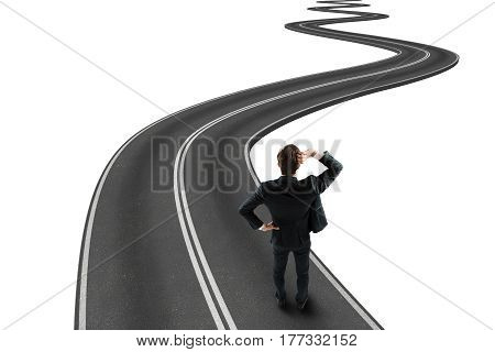 Businessman traveling a winding road to success. 3D Rendering