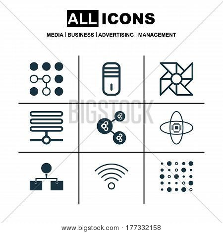 Set Of 9 Robotics Icons. Includes Computing Problems, Variable Architecture, Wireless Communications And Other Symbols. Beautiful Design Elements.