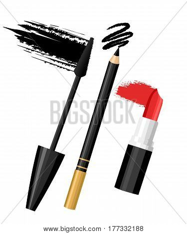Set Of Color Eye Lip Make Up. Vector Fashion Sketch Makeup Contrasty Glamour In Vogue Style. Isolate