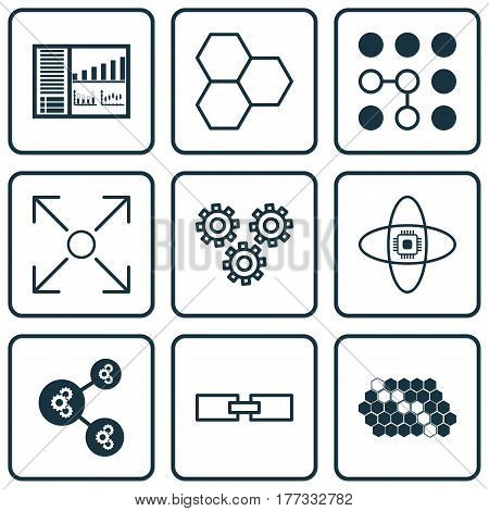 Set Of 9 Artificial Intelligence Icons. Includes Controlling Board, Branching Program, Atomic Cpu And Other Symbols. Beautiful Design Elements.