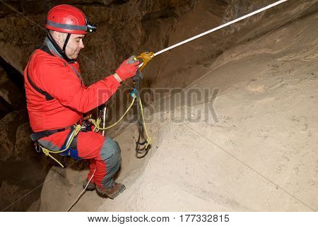 Caving in Cat Cave, Zaragoza Province, Aragon, Spain.