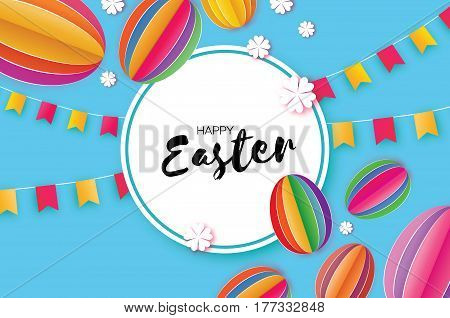 Happy Easter Greeting card. Egg in paper cut, origami and 3d style. Flags. Flowers. Colorful Egg ellipse. Circle frame. Blue background. Vector illustration.