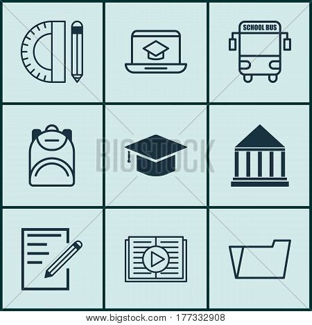 Set Of 9 School Icons. Includes Document Case, Taped Book, Education Tools And Other Symbols. Beautiful Design Elements.