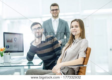 team of copywriters working on a new advertising project in the workplace in the Studio.the photo has a empty space for your text.