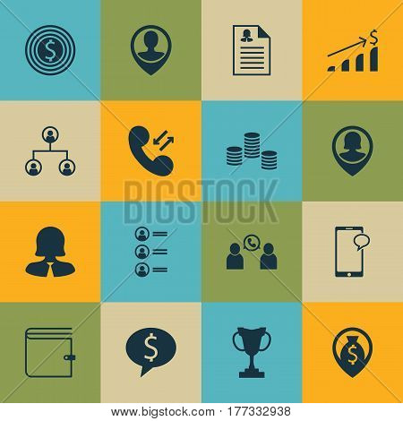 Set Of 16 Human Resources Icons. Includes Tournament, Female Application, Successful Investment And Other Symbols. Beautiful Design Elements.