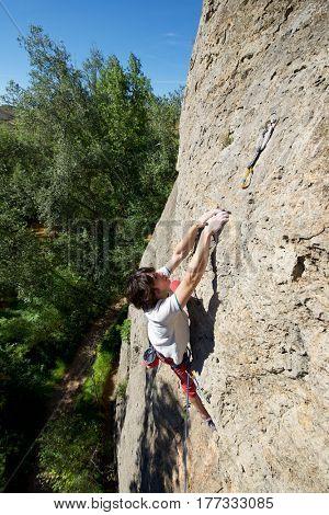 Climbing in Morata de Jalon, Zaragoza province, Aragon, Spain.