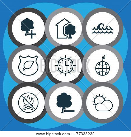 Set Of 9 Eco Icons. Includes Delete Woods, Ocean Wave, Fire Banned And Other Symbols. Beautiful Design Elements.
