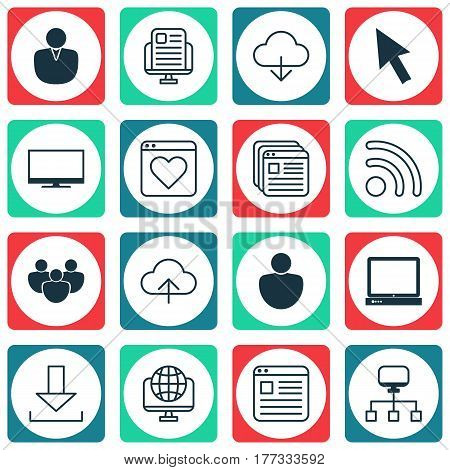 Set Of 16 Web Icons. Includes Followed Website, Display, Local Connection And Other Symbols. Beautiful Design Elements.
