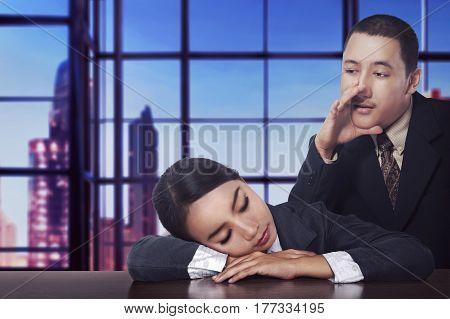 Asian Businessman Wake Sleep His Partner
