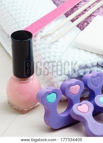 Foot care and cosmetics. Pedicure accessories set tools closeup