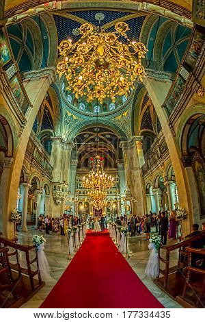 ISTANBUL, TURKEY - SEPTEMBER 28: Fish-eye shot of the interior of the Greek Orthodox Church near Istiklal Caddesi during wedding on September 28th, 2013 Istanbul, Turkey.