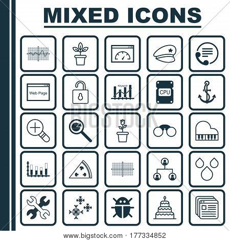 Set Of 25 Universal Editable Icons. Can Be Used For Web, Mobile And App Design. Includes Elements Such As Water Drops, Beetle, Anchor And More.