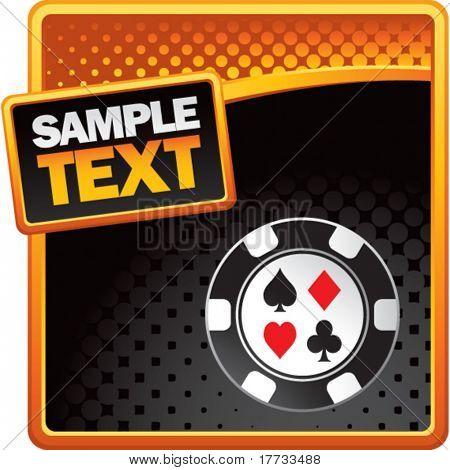casino chip orange and black halftone template
