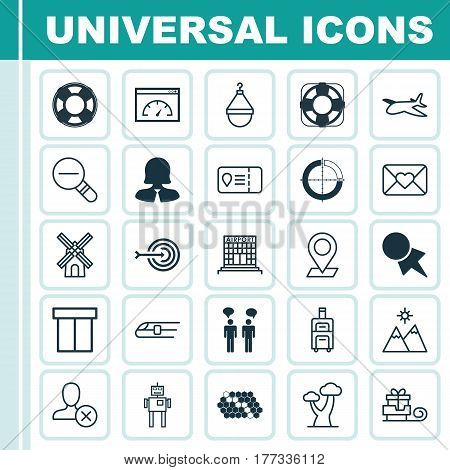 Set Of 25 Universal Editable Icons. Can Be Used For Web, Mobile And App Design. Includes Elements Such As Business Woman, Disjointed Circle Chart, Toboggan And More.
