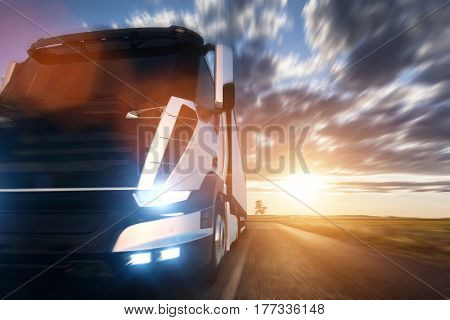 Commercial cargo delivery truck with trailer driving on highway at sunset. Generic modern vehicle design. 3D rendering
