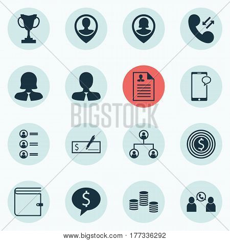 Set Of 16 Hr Icons. Includes Cellular Data, Money, Employee Location And Other Symbols. Beautiful Design Elements.