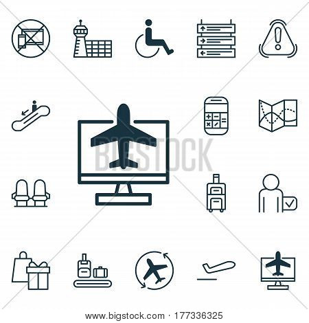 Set Of 16 Airport Icons. Includes Escalator Down, Plane Schedule, Luggage And Other Symbols. Beautiful Design Elements.