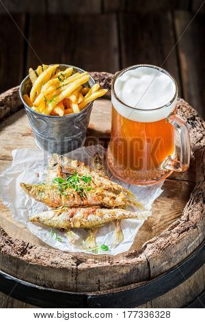 Tasty Smelt Fish And Chips With Cold Beer