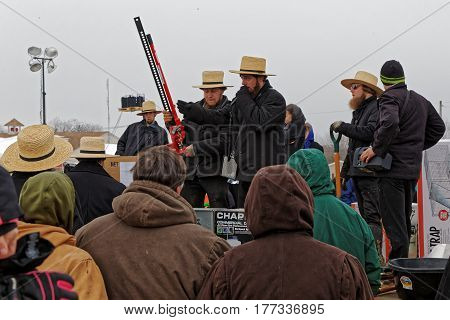 PENRYN PENNSYLVANIA - MARCH 18 2017: Amish volunteers sell tools at the annual auction