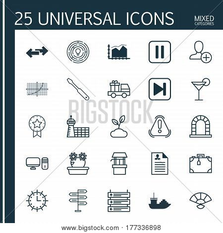 Set Of 25 Universal Editable Icons. Can Be Used For Web, Mobile And App Design. Includes Elements Such As Mute Song, Sun Clock, Turn Screw And More.