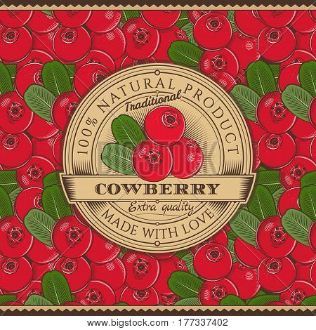 Cowberry Label on seamless pattern in vintage style.