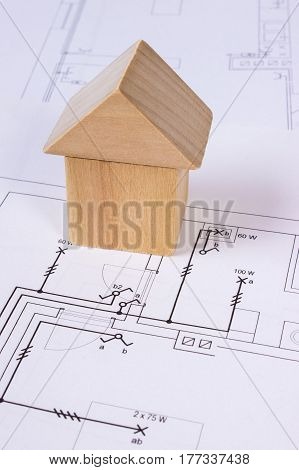House Of Wooden Blocks On Construction Drawing Of House, Building House Concept