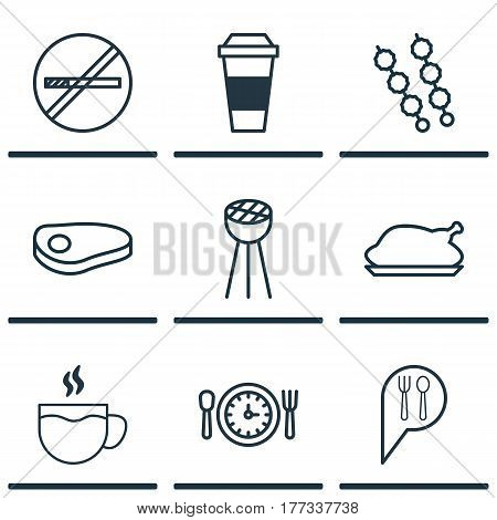 Set Of 9 Meal Icons. Includes Chicken Fry, Stop Smoke, Mocha And Other Symbols. Beautiful Design Elements.