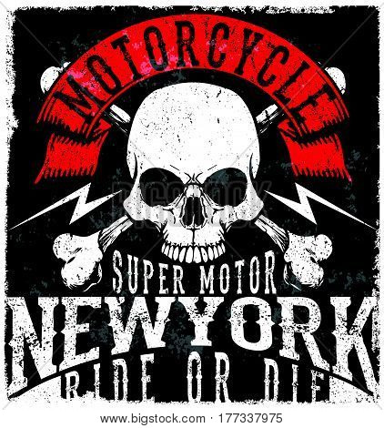 Motorcycle Poster Skull Tee Graphic Design fashion style