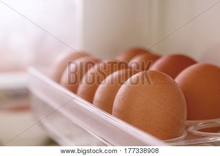 Close up fresh eggs on a tray in refrigeratorshallow DOF