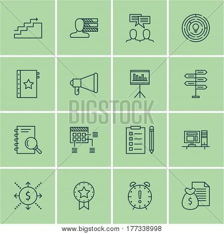 Set Of 16 Project Management Icons. Includes Reminder, Discussion, Computer And Other Symbols. Beautiful Design Elements.