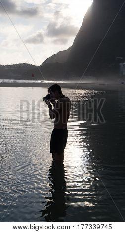 Photographer in Sao Conrado Beach, Rio de Janeiro - Brazil