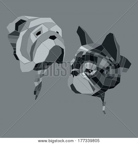 dog vector breed cute pet animal bulldog french french bulldog small illustration