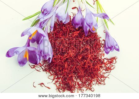 heap of dryed saffron spice with fresh flowers