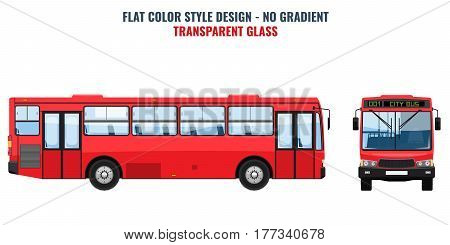 City public bus for advertisement template, front and side view. Isolated Vector illustration with flat color style design.