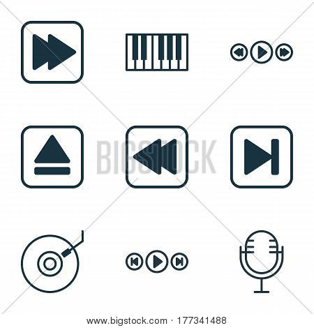 Set Of 9 Music Icons. Includes Audio Buttons, Rewind Back, Skip Song And Other Symbols. Beautiful Design Elements.
