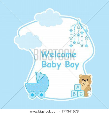 Baby shower card with cute bear, baby cart, and cloud suitable for postcard, greeting, and invitation card