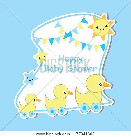Baby shower card with cute ducks, sun and star suitable for postcard, greeting, and invitation card