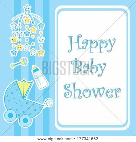 Baby shower card with cute star toy, milk bottle and baby cart suitable for postcard, greeting and invitation card