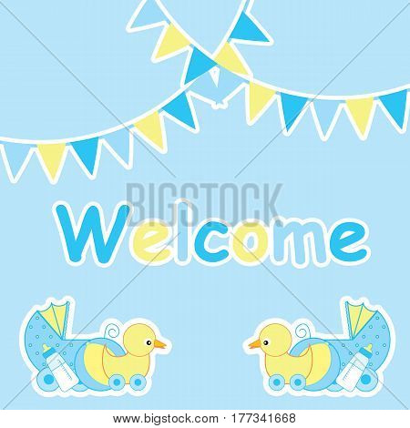 Baby shower card with cute duck toy and baby cart suitable for postcard, greeting and invitation card