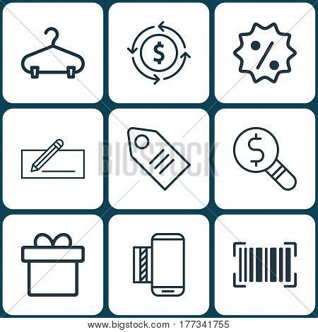Set Of 9 Commerce Icons. Includes Peg, Rebate Sign, Ticket And Other Symbols. Beautiful Design Elements.