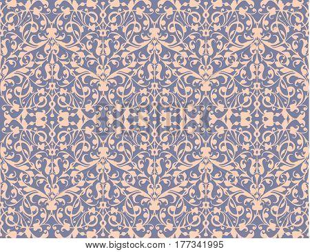 Vintage swirl, violet seamless pattern background vector, damascus style