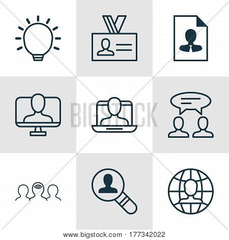 Set Of 9 Business Management Icons. Includes Great Glimpse, Open Vacancy, Coaching And Other Symbols. Beautiful Design Elements.