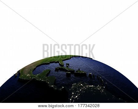 Central America At Night On Model Of Earth With Embossed Land