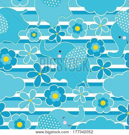 Baby shower seamless pattern with cute elephant and flowers on stripes background suitable for wallpaper, scrap paper, and postcard
