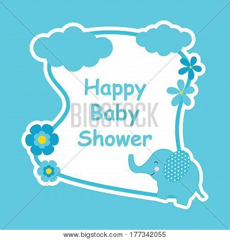 Baby shower card with cute elephant and flower frame suitable for postcard, greeting and invitation card