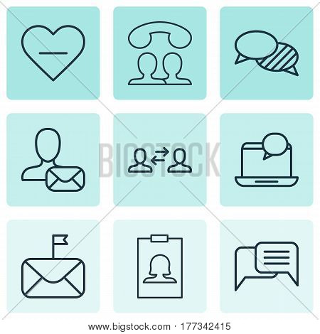 Set Of 9 Communication Icons. Includes Online Chatting, Badge, Unfollow Icon And Other Symbols. Beautiful Design Elements.