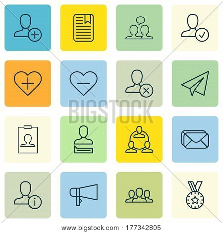 Set Of 16 Social Icons. Includes Bullhorn, Society, Identity Card And Other Symbols. Beautiful Design Elements.