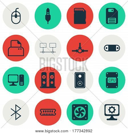 Set Of 16 Computer Hardware Icons. Includes Memory Card, Network Structure, PC And Other Symbols. Beautiful Design Elements.