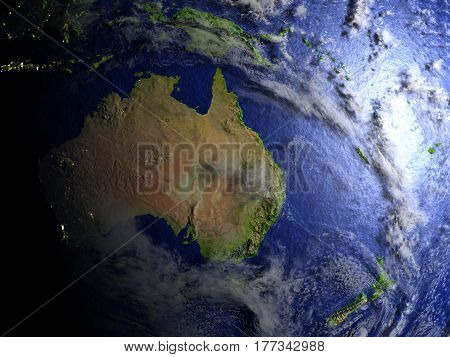 Australia And New Zealand On Realistic Model Of Earth